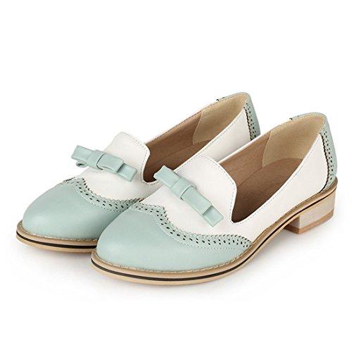 Milesline Women's Shoe Cute Bow Low Flat Heel Multi Color Oxford