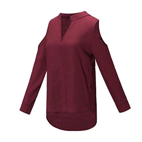 Abcone Spalline donna Maniche Tops Rosso Camicie Unita Scollo Vino Camicette Elegante Felpa s Senza Autunno V Pullover A Lunghe T xl Tinta shirt Casual rFdw6rqz