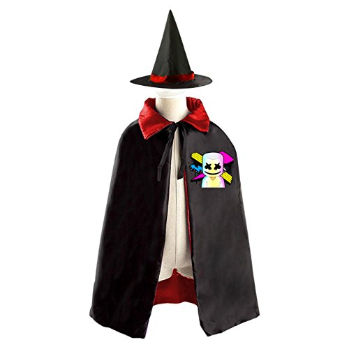 DJ Marshmello Logo Kids Halloween Party Costume Cloak Wizard Witch Cape With (Zombie Dj Halloween Costume)