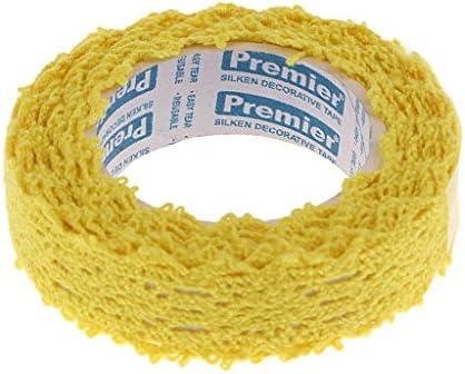 生地テープ レース 和紙テープ 自己接着 トリムテープ 結婚式 パーティー デコレーション 全8色 - 黄
