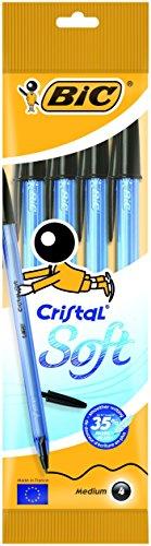 BIC Cristal Soft boligrafos punta media (1,2 mm) - Negro, Blister de 4 unidades