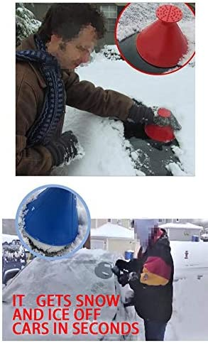 4 Pack Magic Ice Scraper, 2020 Cone Shaped Round Windshield Snow Removal Wiper Snow Remover Deicer Removal Funnel Tool in Winter for Rearview Mirror Car Bus Truck Round Deicing Scraping Tool