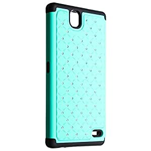 Cell-Pak ZTE Z787 Hybrid Spot Dazzle Case - Retail Packaging - Teal/Black