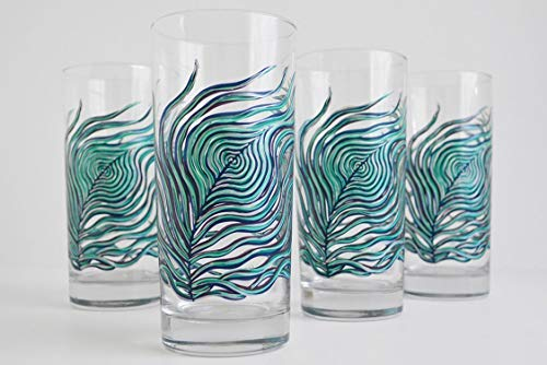 (Peacock Feather Glassware - Set of 4 Hand Painted Glasses, Gift for Her, Everyday Drinking Glasses )
