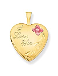 ICE CARATS 1/20 Gold Filled 16mm Enameled Flower I Love You Heart Photo Pendant Charm Locket Chain Necklace That Holds Pictures W/chain Fashion Jewelry Ideal Gifts For Women Gift Set From Heart