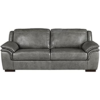 Ashley Furniture Signature Design - Islebrook Contemporary Leather Sofa - Iron
