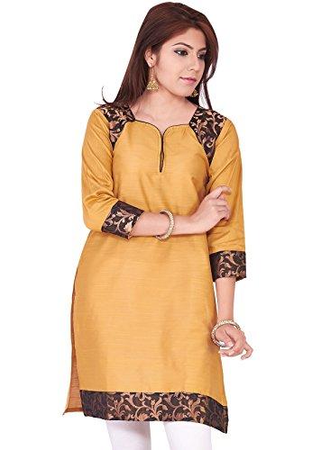 IndusDiva Women's Sandal Cream Silk Cotton Straight Cut Kurti