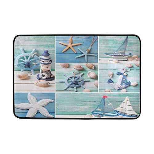 (Naanle Entrance Doormat Marine Sea Life Nautical Theme Lighthouse Sailing Boat Anchor Seashell Starfish On Wooden Indoor Door Mat Rug Non-Slip Doormat 23.6x15.7 Inch Interlayer Polyester)