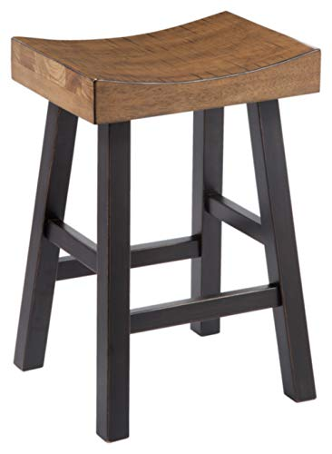 Bar Height Saddle Seat Stool - Ashley Furniture Signature Design - Vintage Casual Barstool - Counter Height - Set of 2 - Two-tone Brown Top With Black Base