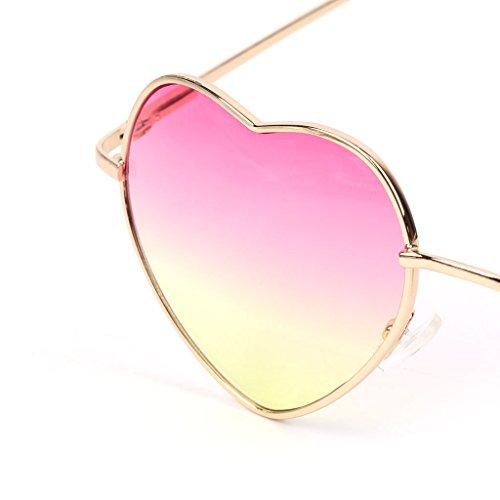 Exing Pour Soleil Colorée Lunettes Miroir Cadre Métal Forme Femme Coeur De Réfléchissant Doré 5 Lentille gw7rwxI