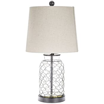 Chicken Wire Table Lamp With Transparent Glass Base