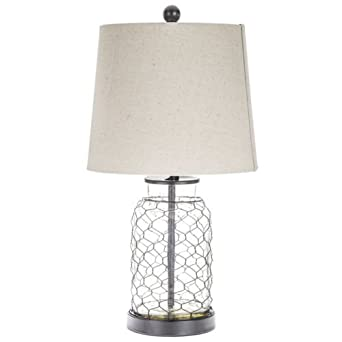 Chicken wire table lamp with transparent glass base amazon chicken wire table lamp with transparent glass base keyboard keysfo Choice Image