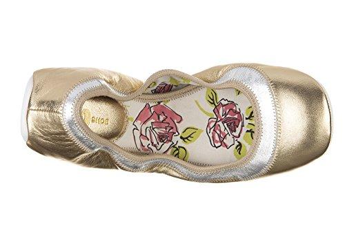 Scarpe Da Donna In Pelle Ballerine Ballerine Oro Seta