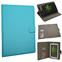 "Xtra-Funky Exclusive Small Luxury Universal Pu Leather Folio Case Cover Fits Most 6""- 8"" Devices Such as iPad Mini, Samsung Tab, Nexus, Nook, Kobo, Asus, Acer, Archos, Lenova and much more - SKY BLUE"