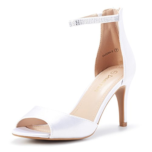 DREAM PAIRS Women's EILEENA_S Shine White Satin Peep Toe Stiletto Ankle Strap Pump Heel Sandals Dress Wedding Party Evening Shoes Size 5.5 B(M) US