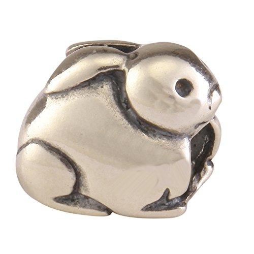 Sterling Silver Charm Bunny Charm Rabbit Charm Animal Bead fits All Charm Bracelets #EC163 -