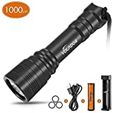 VOLADOR Diving Torch 1000 Lumen Scuba Diving Light Rechargeable Underwater Flashlight Torch 150 Meters Submersible Lights with 1x 18650 Battery and Charger
