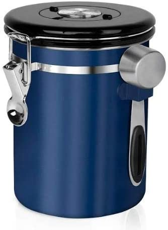 Chef's Star Coffee Container for Ground Coffee or Coffee Beans with Measuring Scoop, Stainless Steel Airtight Coffee Canister with Built in Valve, 50 Fluid Ounces (Blue)