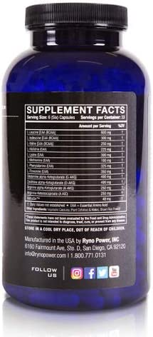 Ryno Power Recovery Capsules - 12 Amino Acids for Muscle Regeneration - Gluten Free Banned Substance Free
