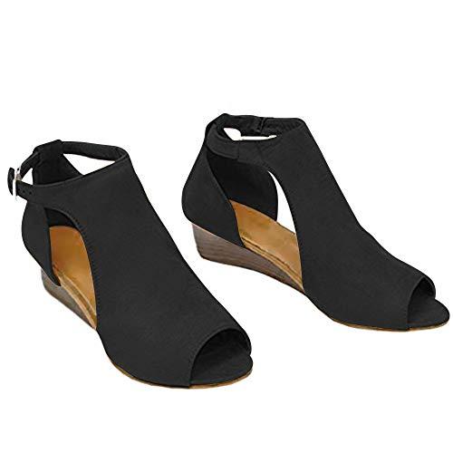 Genevo Women's Platform Wedge Sandals Open Toe High Heel Buckle Sandal Cut Out Espadrille Suede Shoes (6.5 M US, Dignified Black)