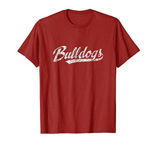 Red Bulldog - Mens Bulldogs Mascot T Shirt Vintage Sports Name Tee Design Medium Cranberry