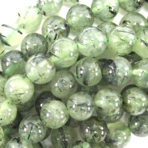 ([ABCgems] Australian Dark Moss Prehnite AKA Rainforest Jasper (Beautiful Inclusions) 8mm Smooth Round Beads for Beading & Jewlery Making )