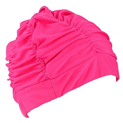 - AutumnFall Unisex Fashion Nylon Swimming Hat Long Hair/Short Hair Bathing Cap Stretch for Women Men (Hot Pink)