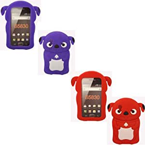 2 Pack Puppy Silicona Caso Cubrir Concha Para Samsung Galaxy Ace S5830 / Purple And Red