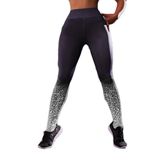 Beihxwe Women Fashion Sport Pants Graffiti Print Running Workout Push Up Jacquard Hip Leggings Tight Pants (M, Gray)