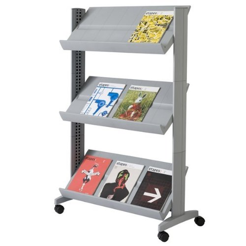 PaperFlow Half-Sized Mobile Literature Display Rack, Single-Sided, 3 Shelves, 49.8 x 33.67 x 15.17 Inches, Silver (253N.35)