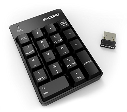 G-Cord 2.4G Wireless Numeric Keypad with Mini USB Receiver for Laptop Notebook Desktop PC (18-Key)