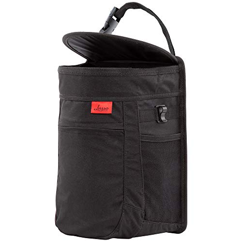 Spill-Proof Hanging Garbage Bin with Odor Blocking Technology, Removable Liner & Storage Pockets