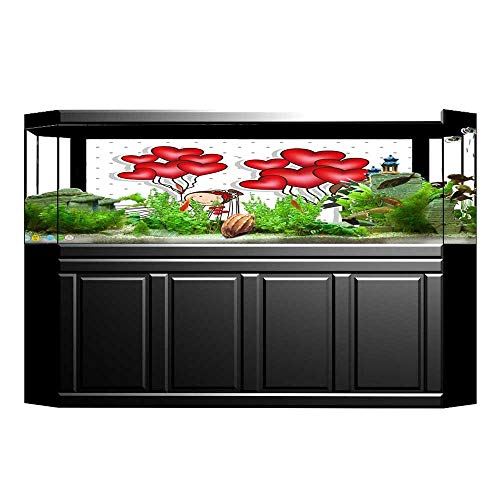Jiahong Pan Aquarium Background Sticker Style Newlyweds with Heart Shaped Balloons Dots Red White Black Aquarium Sticker Wallpaper Decoration L23.6 x H19.6