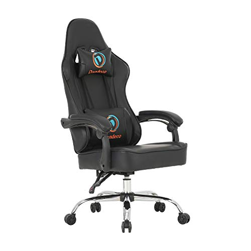 LCH Racing Style Computer Gaming Chair Racing Office Chair PU Leather Computer Desk Chair Adjustable Height Executive and Ergonomic Swivel Chair with Headrest and Lumbar Support (Black)