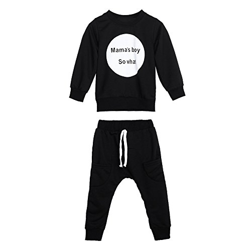 Boy Clothing,Charberry Toddler Kids Baby Girls Boys Outfit Clothes Long Sleeve T-Shirt Tops+Pants 1Set (Spoon Long Sleeve T-shirt)