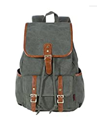 MEbox Retro Travel Rucksack Canvas Backpack Preppy Bag Army Green