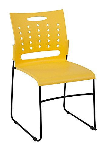 Offex Ergonomically Contoured Design Yellow Sled Base Stack Chair with Air Vent Back (Sled Yellow)