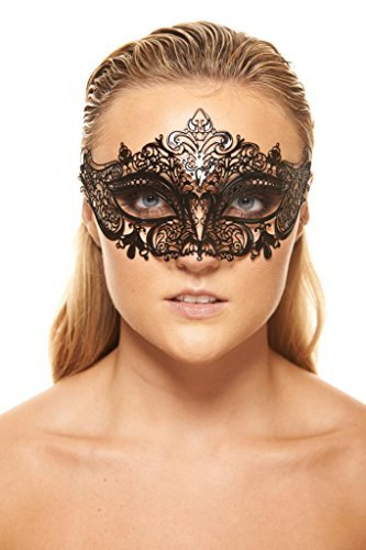Coxeer® Halloween Bendable Laser Cut Hollow Out Metal Black Mask (Black 4)