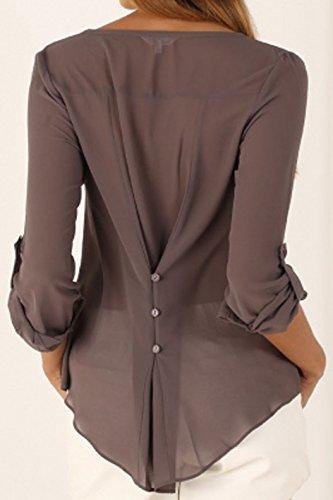 Bluse Marrone Arredamento Lunga Manica V A Maglie Cime Scollo Pulsante Con Chiffon Irregolare Casual Top Orlo Donne Camicie T shirt XqFHHT