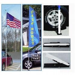 Lightweight Telescoping Flagpole, 16 ft. White Fiberglass, Includes Ball and Wheel Base (16 ft. x 1-1/2 in.) by FlagandBanner