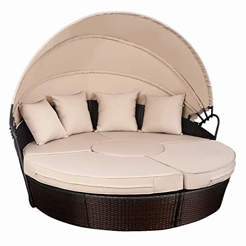 Tangkula Patio Furniture Outdoor Lawn Backyard Poolside Garden Round with Retractable Canopy Wicker Rattan Round Daybed, Seating Separates Cushioned ()