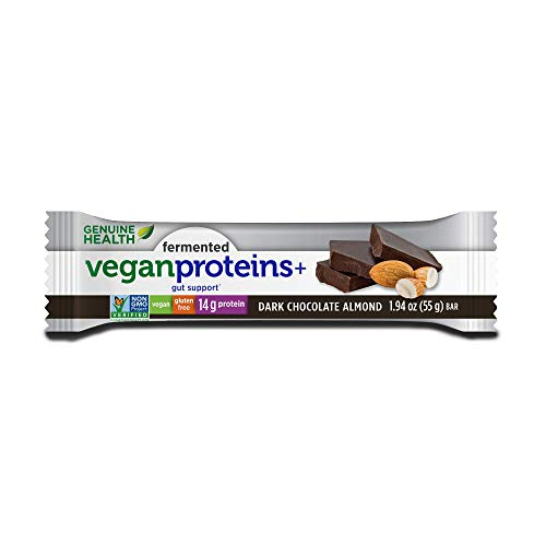 Genuine Health Fermented Vegan Proteins+ bar, Dark Chocolate Almond, box of 12-1.94 oz bars