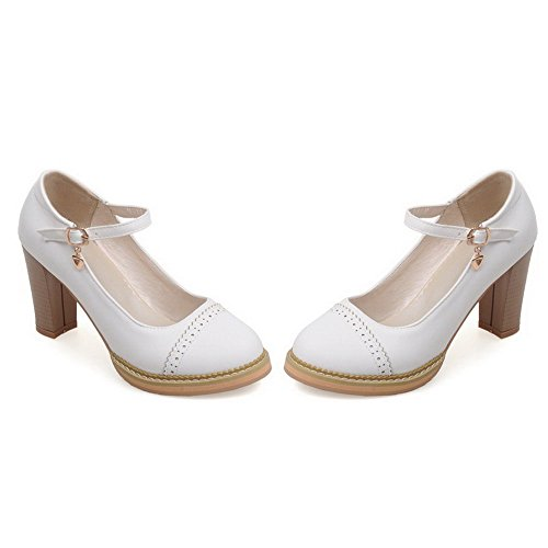 Allhqfashion Womens Buckle High Heels Pu Solid Round Closed Teen Pumps-shoes White