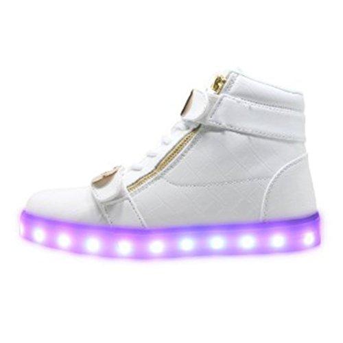 unisex colori LED carica da luce uomo bianco piccolo asciugamano lampeggianti camminat donna bianco Scarpe Presente alla JUNGLEST moda da USB luminosi 7 xnI0qwUqZ