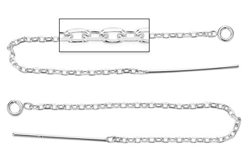 Cable Chain Ear Thread - 5 Pairs, 10 Pieces Sterling Silver Earring Threader With 2.5 Inch Flat Drawn Cable Chain