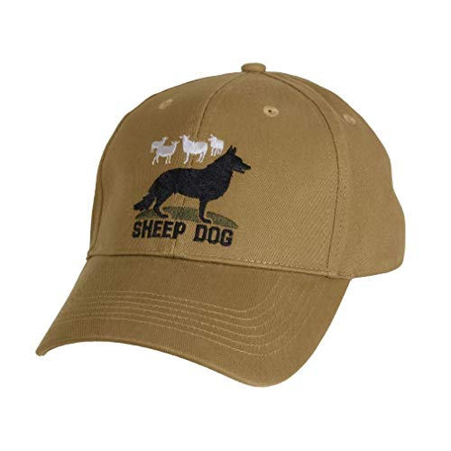 BlackC Sport Baseball Hat Cap Sheep Dog Low Profile Coyote Brown Embroidered (Embroidered Sheepdog Fleece)