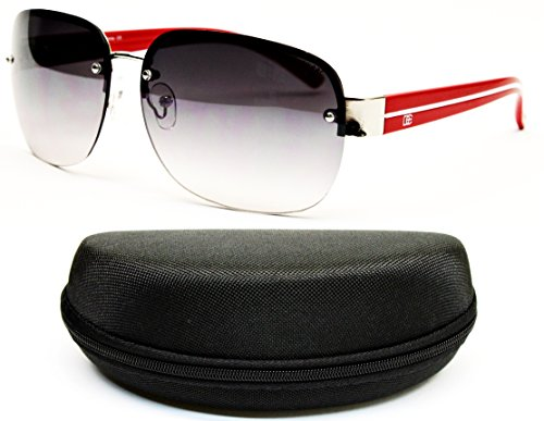 D682-CC Designer Eyewear Shield Rimless Sunglasses (588 Silver/red, - Eyewear Designer Rimless