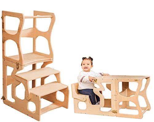 Amazon.com: Montessori tower Step stool Activity Kitchen ...