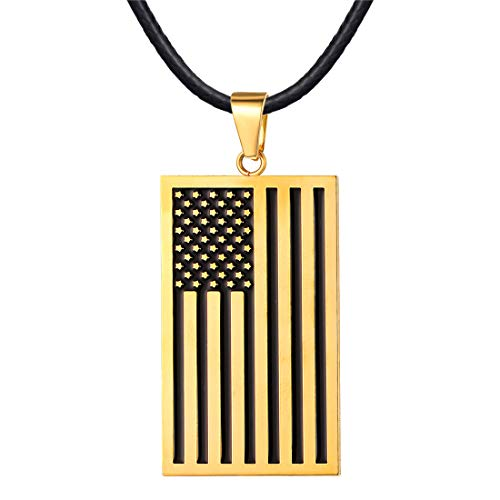 18K Gold Rectangle Dog Tags Necklace Enamel US Flag Charm Pendant with 2mm Wide Black Cord Leather Chain 22
