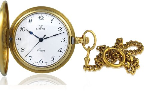 Catorex Men's 871.6.1087.120 Les Breuleux 18k Gold Plated Brass White Quartz Pocket Watch